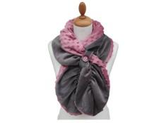 ECHARPE FEMME en VELOURS et POLAIRE Minky  - Coloris gris souris et rose poudré