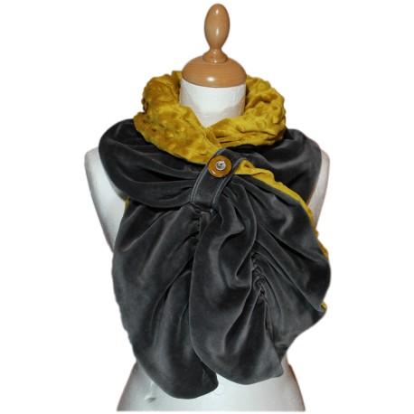 ECHARPE FEMME en VELOURS et POLAIRE Minky  - Coloris gris anthracite et jaune moutarde
