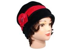 CHAPEAU FEMME en VELOURS doublé POLAIRE - coloris noir et rouge carmin