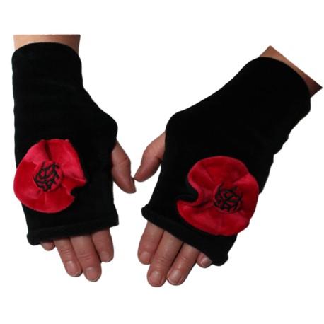 MITAINES en VELOURS doublées POLAIRE - Coloris noir et rouge carmin