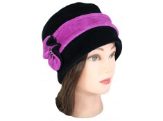 CHAPEAU FEMME en VELOURS doublé POLAIRE coloris noir et rose purple