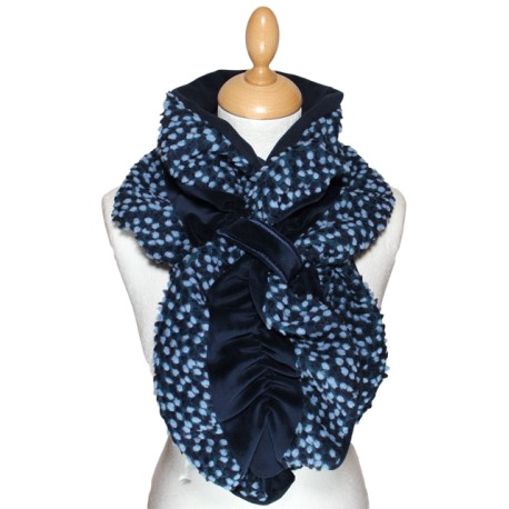 ECHARPE FEMME en VELOURS et POLAIRE - Coloris bleu nuit et laine plumetis coordonnée