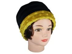 CHAPEAU FEMME en VELOURS doublé POLAIRE  Coloris noir et jaune