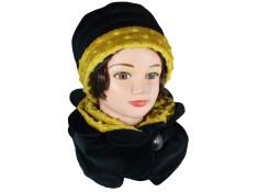 ENSEMBLE chapeau et Tour de cou Coloris ,noir et jaune en VELOURS coordonné entièrement doublé POLAIRE.