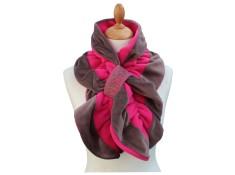 ECHARPE FEMME - Coloris taupe et rose fruité  en VELOURS et POLAIRE