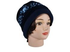CHAPEAU FEMME en VELOURS - Coloris bleu nuit et laine plumetis coordonnée - Jolie fleur agrémentée d'un bouton
