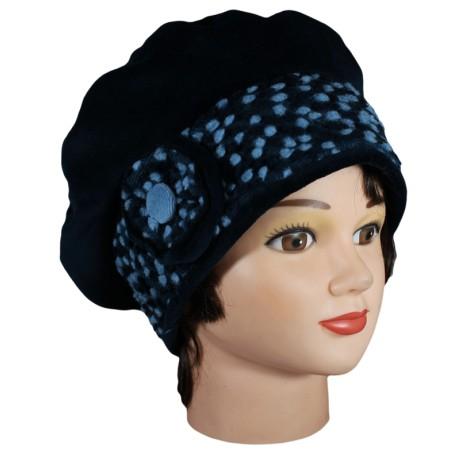 BERET FEMME en VELOURS - Coloris bleu nuit et laine plumetis coordonnée - Jolie fleur agrémentée d'un bouton