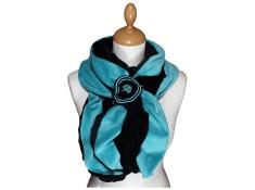 ECHARPE FEMME en VELOURS et POLAIRE - Coloris noir et turquoise