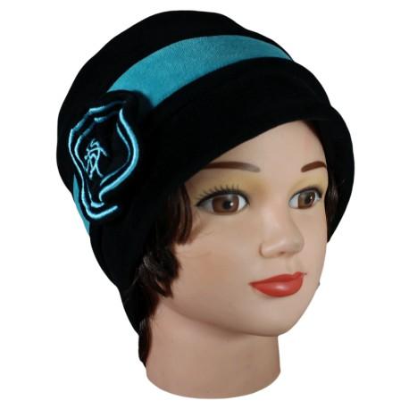 CHAPEAU FEMME en VELOURS doublé POLAIRE - coloris noir et bleu turquoise