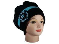 BERET FEMME en VELOURS doublé POLAIRE - Coloris noir et bleu turquoise