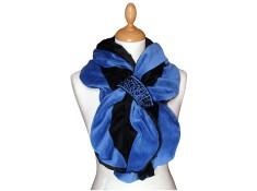 ECHARPE FEMME en VELOURS et POLAIRE Minky - Coloris bleu impérial et noir