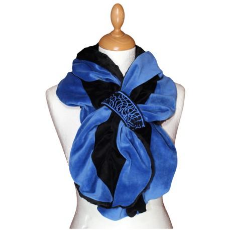 ECHARPE FEMME - Coloris  noir et bleu impérial  en VELOURS et POLAIRE