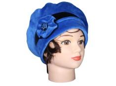 BERET FEMME Coloris bleu impérial et noir en VELOURS doublé POLAIRE -