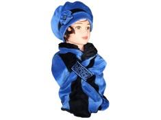 ENSEMBLE Béret et Echarpe Coloris bleu impérial et noir en VELOURS coordonné entièrement doublé POLAIRE.