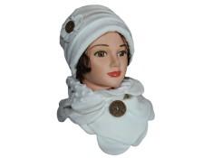 ENSEMBLE chapeau et Tour de cou Coloris ,blanc chantilly en VELOURS coordonné entièrement doublé POLAIRE.