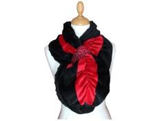 ECHARPE FEMME en VELOURS et POLAIRE Minky - coloris noir et rouge carmin