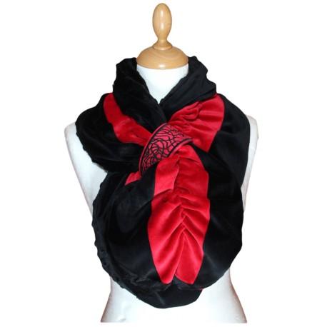 ECHARPE FEMME en VELOURS et POLAIRE - coloris noir et rouge carmin