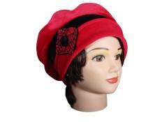BERET FEMME en VELOURS doublé POLAIRE - Coloris noir et rouge carmin
