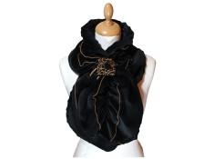 ECHARPE FEMME en VELOURS et POLAIRE Minky - Coloris noir et surpiqûres de couleur camel
