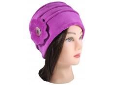 CHAPEAU FEMME en VELOURS doublé POLAIRE - coloris rose purple