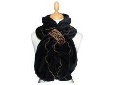 ECHARPE FEMME Les intemporels en VELOURS et POLAIRE Minky - Coloris noir et surpiqûres de couleur camel