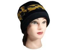 CHAPEAU FEMME en VELOURS doublé POLAIRE - coloris noir et imprimé moutarde
